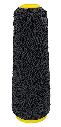 Young Hair 1mm 500 Yards Stretchy Sewing Thread Elastic Rubber Thread for Human Hair Knots(Black)