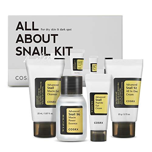 COSRX All About Snail Korean Skincare | Travel Size, Gift Set |Cleanser, Essence, Cream, Eye-cream | Snail Mucin for Repairing, Recovering, Rejuvenating