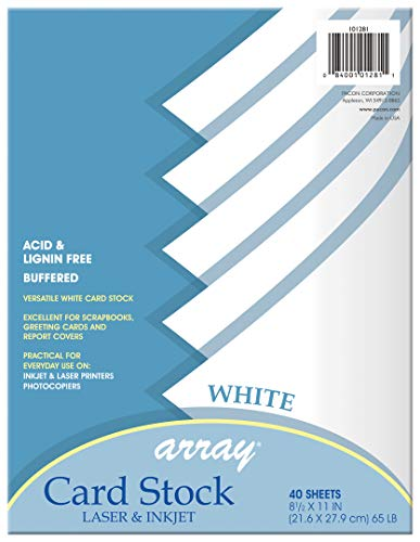 Pacon Card Stock, White, 8-1/2' x 11', 40 Sheets