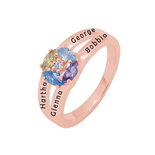 Personalización del anillo con nombre personalizado 4 anillos de piedra natal Anillo de plata esterlina 925 Navidad para abuela(Chapado en oro rosa de 18 k 20)