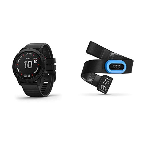 Garmin Fenix 6X Sapphire, Premium Multisport GPS Watch, Features Mapping, Music, Grade-Adjusted Pace Guidance and Pulse Ox Sensors, Dark Gray with Black Band & HRM-Tri Heart Rate Monitor