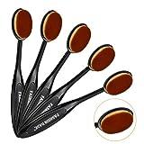 Fashion Base - Cepillos ovalados de maquillaje, color oro rosa, diseño de cepillo de dientes, para aplicar productos cosméticos