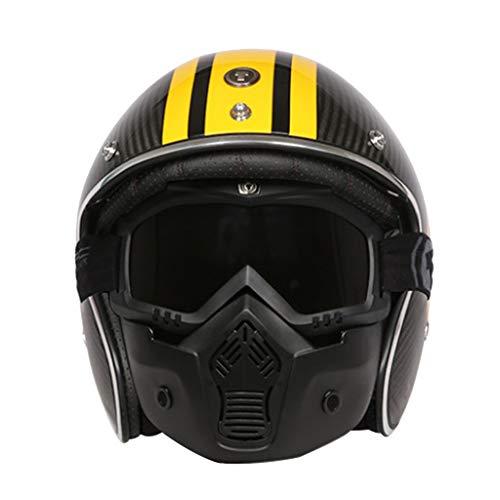 Lsrryd Masque détachable pour Casque de Type Jet de Carbone, Casques de Moto, Bluetooth Friendly (Non Inclus) (Couleur : A, Taille : L(56-58CM))