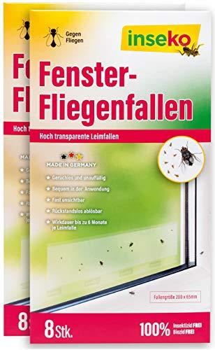 inseko Fenster-Fliegenfallen I transparenter Fliegenfänger I umweltfreundlich - giftfrei (16) 16 Stück