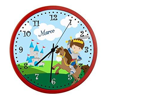 CreaDesign Kinder Wanduhren lautlos | Uhr mit (Wunsch) Namen | Kinderuhr Coole Deko fürs Kinderzimmer | Ideal für Mädchen und Jungen | Motiv Ritter