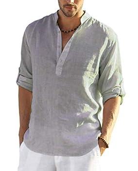 COOFANDY Men s Cotton Linen Henley Shirt Long Sleeve Hippie Casual Beach T Shirts Gray