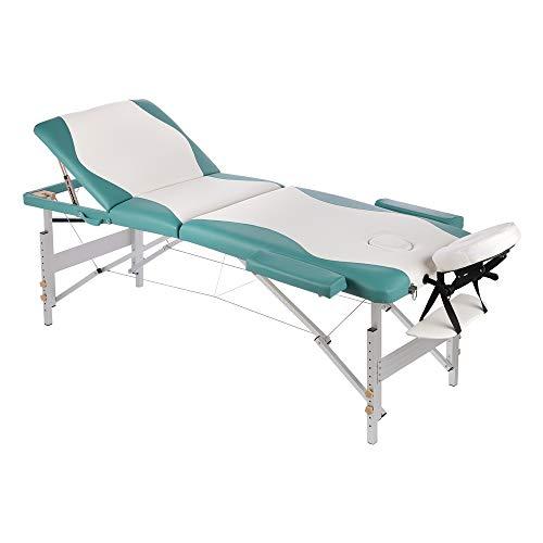 Melko Massageliege Profi 3 Zonen aus Aluminium, klappbar und höhenverstellbar, Weiß/Grün - inkl. Schutzhülle