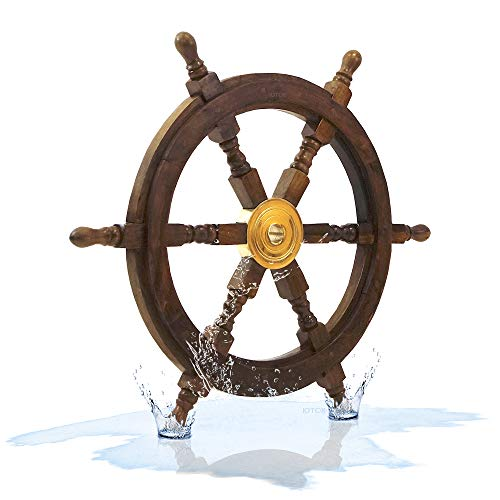 Nautical Specials SH 8763-VC Nautical Sheesham Wood Ship Wheel with Brass Center Home Decoration Gifts (24')