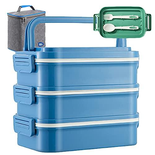Yeah-hhi Caja Bento De 3 Capas Recipiente para Alimentos Apto para Microondas con Bolsa De Almuerzo Y Cubiertos para La Escuela, Oficina, Picnic, Al Aire Libre, Viajes,Azul,2700ml