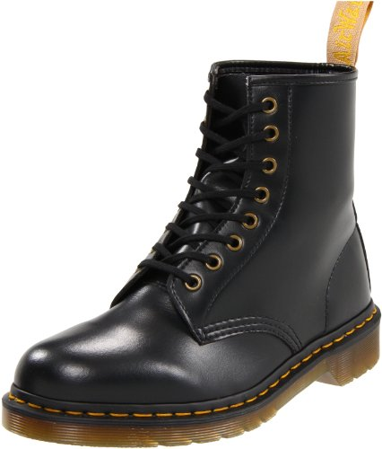 Dr. Martens Vegan 1460 Smooth Black Combat Boot, Fleix Rub, 5 UK/US Women's 7 D US