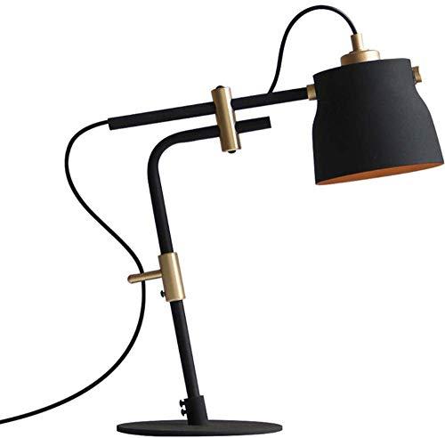 Lámpara mesa telescópica hierro forjado junto cama