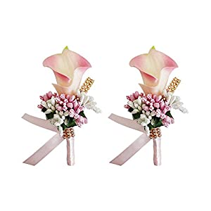 MOJUN Groom Groomsman Calla Lily Boutonniere Buttonholes Corsage Calla Lily Flowers Brooch for Wedding Prom Party, Pack of 2, Peach Pink