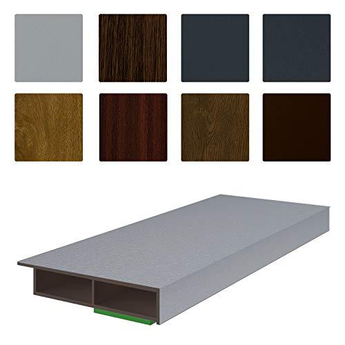 NOBILY *** Fenster/PVC Deckleiste Flachleiste Fensterleiste 30mm Breite x 7mm Höhe mit Überstand für Wandabschluss inkl. Schaumklebeband farbig - Länge 1950mm (4,05€ /m) - Farbe Silbergrau