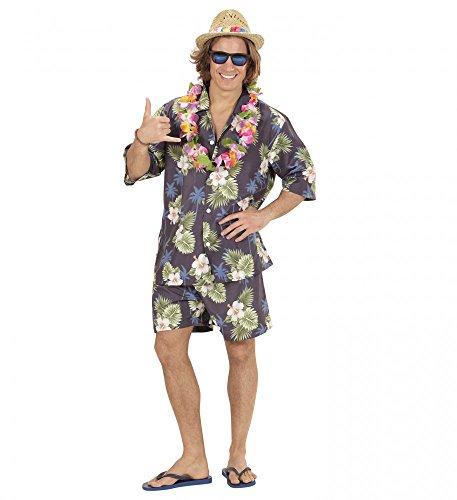 shoperama Hawaii Herren-Kostüm Hemd Shorts Kette Urlauber Tourist Party Strand Hose Shirt JGA, Größe:M/L
