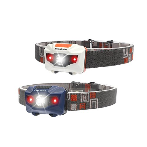 EverBrite Headlamps, 2-pack CREE LED 150 Lumens with Red Lights for Hunting Camping Hiking Sports Emergency Power Outage, Alkaline AAA Batteries Included