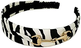 Mia U-Shaped Fashion Headband Black And White Silk Zebra Animal Print With Gold Horse Bit Gucci Style Buckle, 1.25 Inches Wide, Women And Girls 1pc