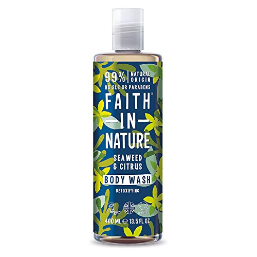 Faith In Nature Natural Seaweed & Citrus Body Wash, Detoxifying, Vegan & Cruelty Free, Paraben and SLS Free, For All Hair Type, 400ml
