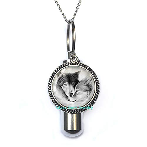 Love Wolf Cremation URN Necklace for Couples Lover Grey Natural Animal Jewelry Glass Cabochon URN Chain Neckless Q0221
