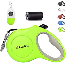 PetiFine Retractable Dog Leash with Dispenser and Poop Bags, 16ft Heavy Duty Reflective Walking Pet Leash for X-Small/Small/Medium/Large Breed Dogs or Cats up to 26 lbs, Tangle-Free(S,Green.20 Bags)