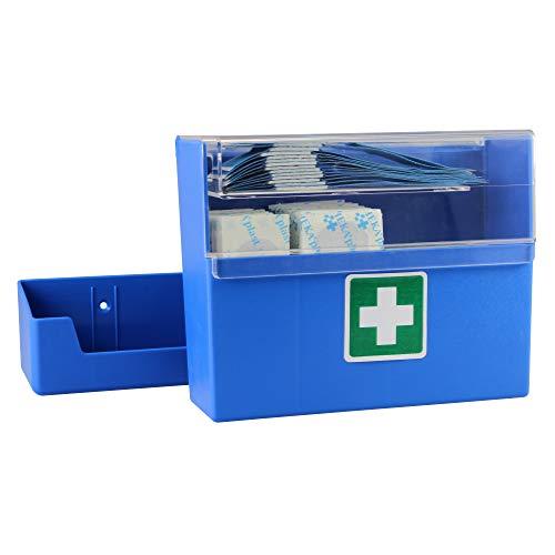 Pflasterspender 15,7 x 12,7 x 5,5 cm mit Wandhalterung 90 Pflaster, Ausführung:Pflasterspender Blau