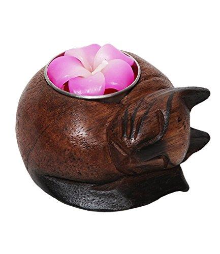 2xfair Trade Katze Holz Teelicht/Kerzenhalter