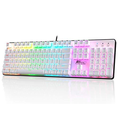 RK ROYAL KLUDGE RK920 Teclado mecánico de tamaño completo, teclado retroiluminado para juegos, teclado mecánico con cable con 108 teclas con almohadilla numérica, interruptor marrón táctil