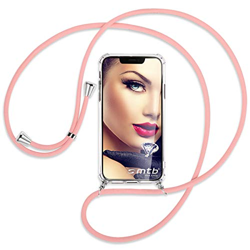 mtb more energy® Handykette kompatibel mit Sony Xperia L2, L2 Dual SIM (5.5'') - rosa - Smartphone Hülle zum Umhängen - Anti Shock Full TPU Hülle