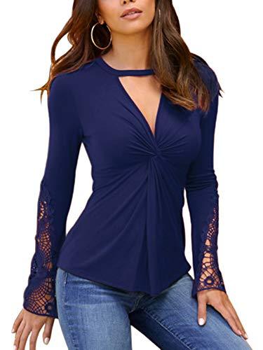 YOINS Sexy Oberteil Damen Elegant Langarmshirt Damen Bluse Herbst Choker T-Shirt V-Ausschnitt Spitze Tops