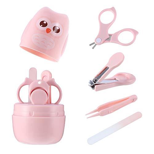 You&Lemon 4 in 1 Baby Nagelpflege Set,Babypflege Baby Maniküre Set mit sicherem Baby Nagelknipser,Schere,Pinzette und Nagelfeile für Kinder und Neugeborene in süßer Eule Geschenk-Verpackung
