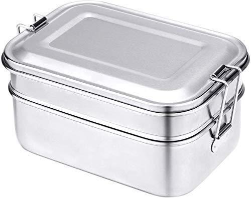 edelstahl brotdose kinder,Butterbrotdose Groß Edelstahl-Lunch-Boxen auslaufsicher,eco lunchbox edelstahl mit fächern (1340ml)