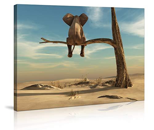 bestpricepictures 80 x 60 cm Bild auf Leinwand Elefant auf Baum/AST 4010-SCT deutsche Marke und Lager - Die Bilder/das Wandbild/der Kunstdruck ist fertig gerahmt