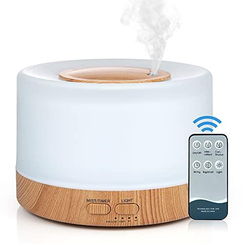 Czemo 500ml Difusor de Aromas, Difusor de Aromaterapia con Mando a Distancia Humidificador...