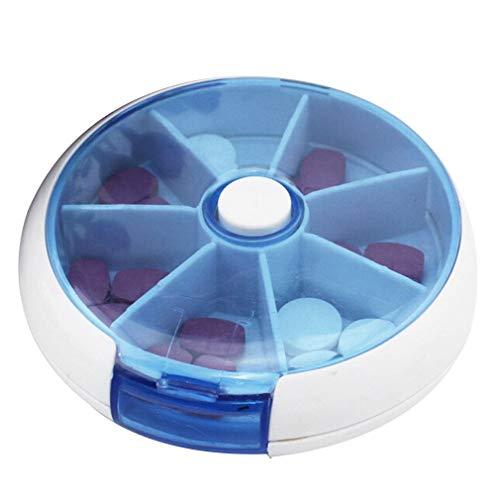 Deliu Kit de Rejilla automática Tipo pulsador Color de botón Pastillero Portátil Una Semana Azul