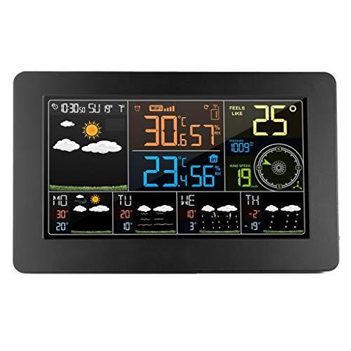 XF-B WiFi Estación Meteorológica Reloj Despertador Digital De Pared Termómetro Higrómetro Previsión Meteorológica Futura Dirección del Viento Barómetro