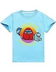 Among Us - Camiseta de Manga Corta para niños, diseño de Camiseta de Manga Corta Unisex Camiseta Estampada Hombre Divertidas Manga Corta T Shirt