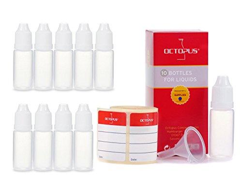 10 botellas de líquido de 10 ml con embudo + etiquetas, por ejemplo para e-liquidos + e-cigarrillos, botellas de plástico de PE LDPE, botellas dosificadoras de líquido + tapas blancas