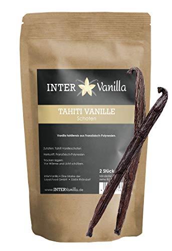 InterVanilla, echte Tahiti Vanille Schoten, 2 Stück 15 cm. Vanilleschoten direkt aus Tahiti. Die Schoten haben ein würzig-blumiges Aroma