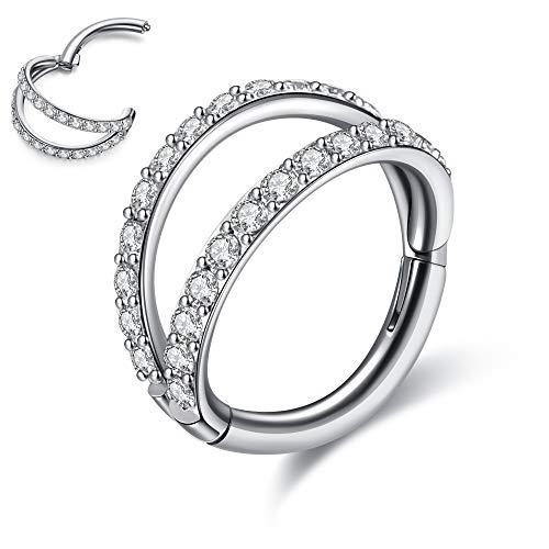 JSDDE Pendiente de acero quirúrgico 16 G para septum, con doble capa de cristal, pendientes de aro para hélix, tragus, cartílago, labios, oreja, Daith, 8 mm, Acero inoxidable Cristal,
