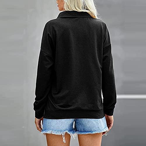 FMYONF Sudadera de mujer con cremallera de cuatro partes, monocolor, suéter informal suelto con capucha, manga larga, cuello alto, Negro , XL