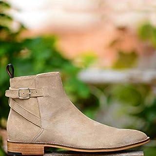 963e8dfcebf Men Handmade Beige Jodhpurs buckle Suede Boots,Casual Dressy Ankle Chukka  Boots