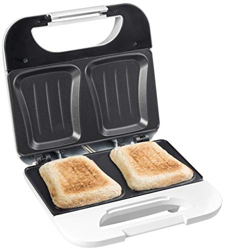 Bestron Antihaftbeschichteter Sandwich-Toaster, Sandwich-Maker mit 750 Watt, Funcooking, Weiß