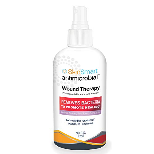 SkinSmart Wound Therapy Hypochlorous Antimicrobial Safely Removes Bacteria so Wounds Can Heal 8 Ounce Clear Spray