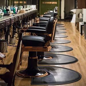 "Salon mats for Hair Stylist 4′x3′ Barber Shop Salon Chair Mats - Black Semi Circle Anti-Fatigue Floor Mat for Chair - 1/2"" Thick Comfort Bar Floor Mat"