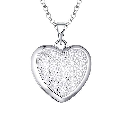 JO WISDOM Collar Medallón de Fotos de Plata de ley 925 Mujer,Colgante con Cadena la Flor de la Vida Corazón