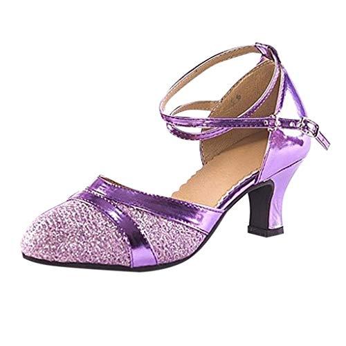 Deloito Damen Mode Elegant Ballsaal Tango Latein Salsa Tanzschuhe Party Hochzeit Sozial Pailletten Schuhe Weicher Boden Spitze Absätze Tanzschuh (Lila,36 EU)