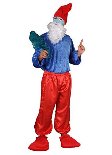 chiber - Disfraz Viejo Gnomo Azul Hombre