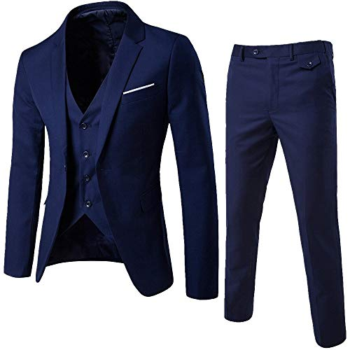 DAY8 Abito Cerimonia Uomo 3 Pezzi per Matrimonio Affari Festa Slim Fit Elegante Vestito Uomo Cappotto Giacca Blazer + Gilet + Pantaloni Set Economico (Marino, XL)