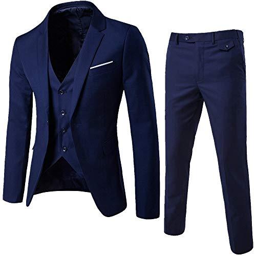 DAY8 Abito Cerimonia Uomo 3 Pezzi per Matrimonio Affari Festa Slim Fit Elegante Vestito Uomo Cappotto Giacca Blazer + Gilet + Pantaloni Set Economico (Marino, L)