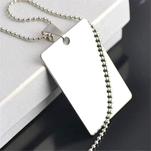 FACAIBA Collar Accesorios para Hacer Joyas 25 7 * 40 Mm Collar de Acero Inoxidable Rectángulo de Arcilla Estampado en Blanco Etiqueta de Perro Collar Militar