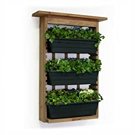 Algreen 34002 Garden View, Vertical Living Wall Planter 3 Includes weather resistant non toxic seal and treatment Slots to position planters at different heights to suit you Decorative trellis backing